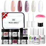 Dipping Powder Nail Starter Kit 6 Colors White Glitter,Dip Powder System Starter Nail Kit Acrylic Dipping System for French Nail Manicure nail art Set Essential kit,Portable Kit for Travel (Color: #3 Dipping Powder)