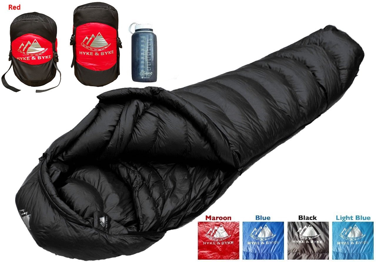 Hyke & Byke Quandary 15 Degree Down Sleeping Bag for Backpacking, Ultralight Mummy Down Bag with Lightweight Compression Sack and Five (5) Color Options