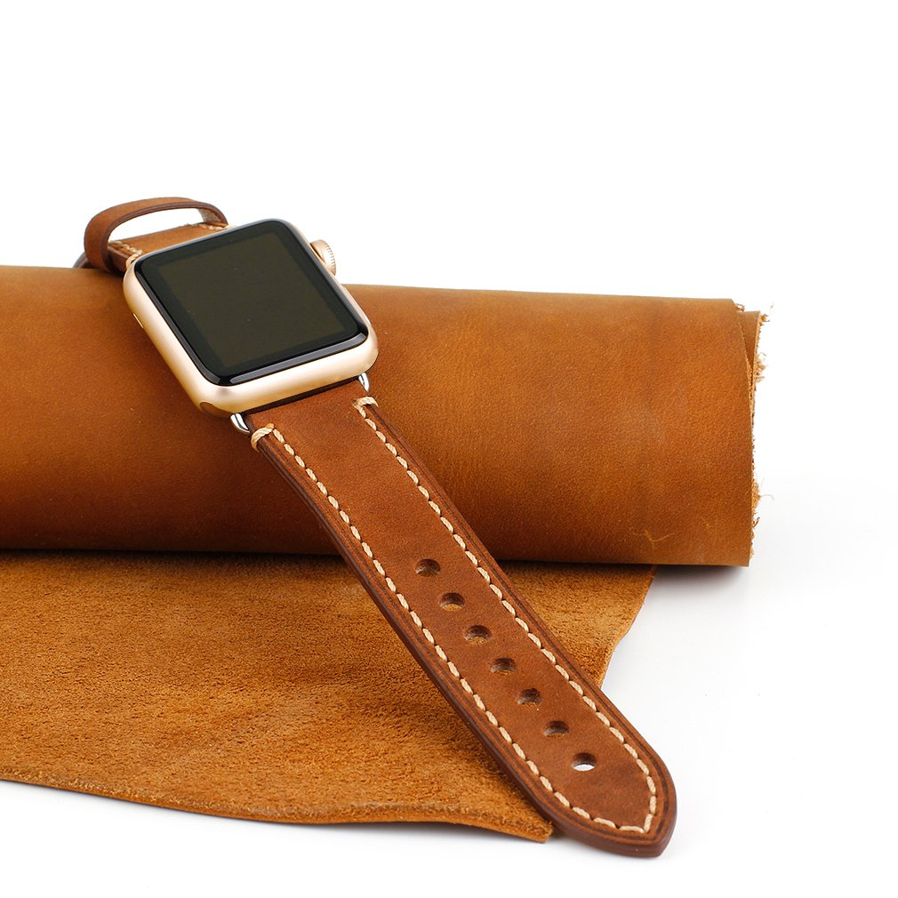 Apple Watch Band, iWatch Leather Wrist Band, Premium Vintage Crazy Horse Leather Watches Band with Secure Metal Clasp Classic Buckle Strap Replacement for Apple Watch 42mm (Dark Brown) 2