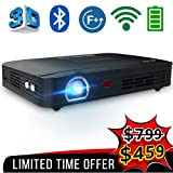 WOWOTO T8E Full HD Mini Portable Projector WiFi&Bluetooth Home Theater Projector Support 1080P Max300 DLP 3D Video Projector Built in Battery 7800mAh Android System for Gaming Business&Education (Color: T8E black)