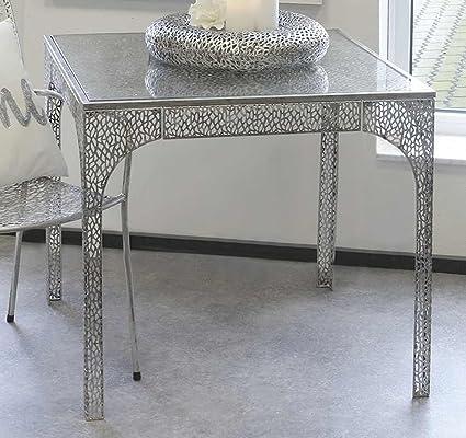 Tisch Purley antik-silber, Metall, Höhe 75 cm80x80 cm