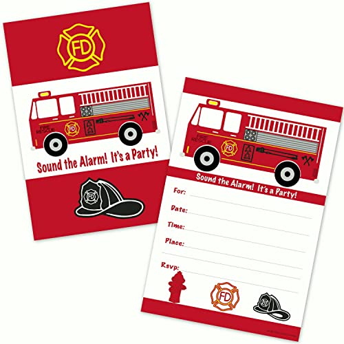 Fire Truck Birthday Party Invitations (20 Count with Envelopes)