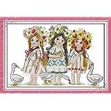 Joy Sunday Cross Stitch Kits 11CT Stamped Young Girls 23.2