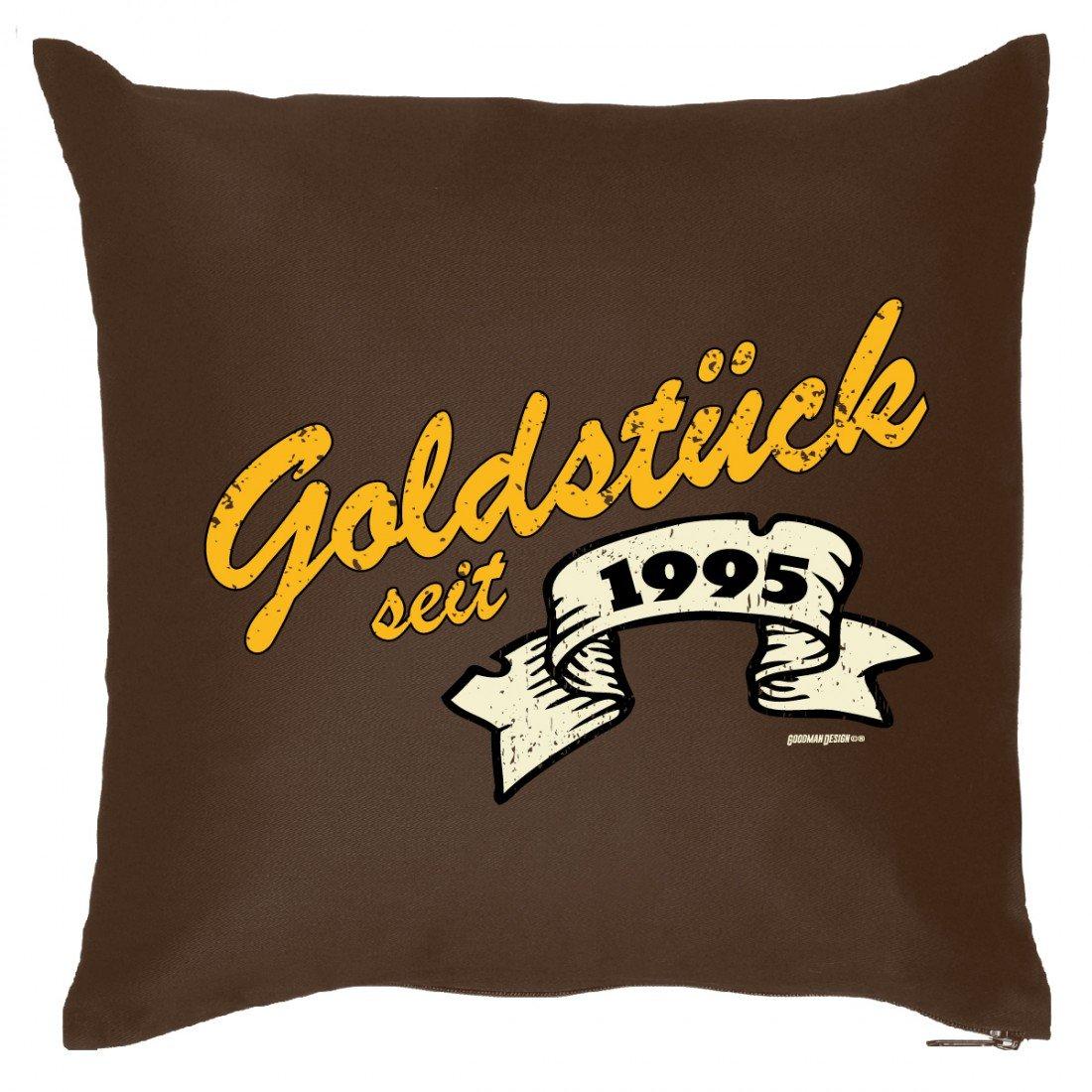Couch Kissen mit Jahrgang zum Geburtstag - Goldstück seit 1995 - Sofakissen Wendekissen mit Spruch und Humor