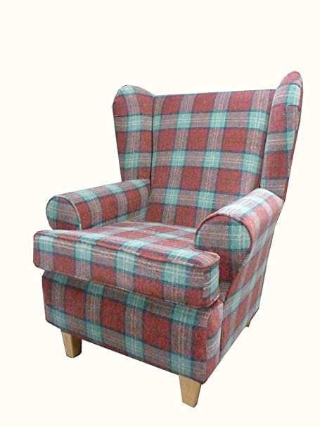 Sun Red Tartan Fabric Queen Anne With a Deep Base design...wing back fireside high back chair. Ideal bedroom or living room furniture