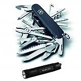 Victorinox Swiss Army SwissChamp Knife (Black) with Compact Keychain LED Flashlight (Color: Black, Tamaño: pocket size)