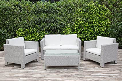 Four Piece Grey Rattan Garden Furniture Set