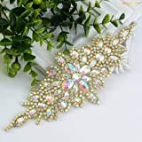 ShiDianYi Pack of 5 Rhinestone Applique, Diamante Applique Big Beaded Crystal AB Stone Patches Sew on Rhinestones Stones Wedding Applique (Color: Ab Stone, Tamaño: 5 PC)