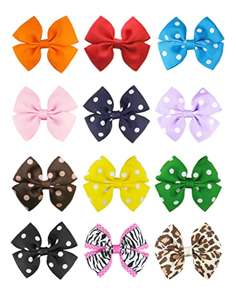 "12pc 3.5"" Pinwheel Hair Bow Clip-Polka n Solid"