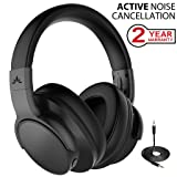 Avantree Active Noise Cancelling Wireless Headphones for Airplane Travel Mowing, Bluetooth Wired ANC Sound Cancelling Over Ear Headphones with Mic, Low Latency Hi-Fi Headset for TV PC Phones - ANC031 (Color: Fast Stream Standard ANC)