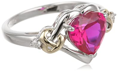 XPY Sterling Silver and 14k Yellow Gold Diamond and Heart-Shaped Created Ruby Ring