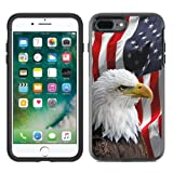 Protective Designer Vinyl Skin Decals / Stickers for OtterBox Symmetry iPhone 8 Plus / iPhone 7 Plus Case - Bald Eagle American Flag Design Patterns - Only SKINS and NOT Case - by [TeleSkins]