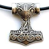 Viking Pendant Raven Skane Thor's Hammer Mjolnir Pewter W Black PVC Cord