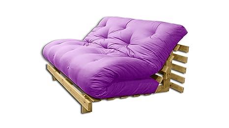 Canapé lit convertible Roots- Naturel, Futon violet, 140x103x80 cm.
