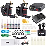 Tattoo Kits 2Pro Coil Machine Guns 7Inks Professional Power Supply Foot Pedal for Liner and Shader TK-ST201 (Tamaño: 201)