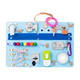 Montessori busyboard Busy Board- Sensory Board - Study Board -Wood Board - Activity Board Locks and latches Activity Board - 12-60 Month (Color: blue, Tamaño: bule)