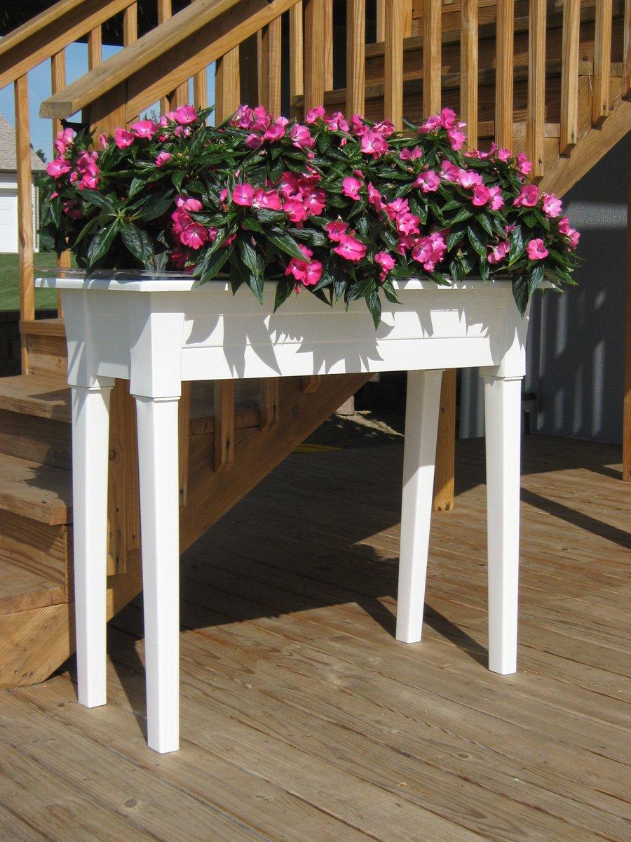 """48 Inch Patio Table Cover: Adams Mfg 9304-48-3740 36"""" White Garden Patio Herb Planter"""