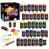 Acrylic Paint Set, Shuttle Art 36 Colors (60ml, 2oz) with 3 Brushes & 1 Palette, Craft painting, Rich Pigments,Non-Toxic for Artists,Beginners and Kids on Rocks, Crafts, Canvas,Wood, Fabric, Ceramic (Color: 36 pack)