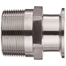 "Parker Sanitary Tube Fitting, Stainless Steel 304, Adapter, 1-1/2"" Tube OD x 1-1/2"" NPT Male"