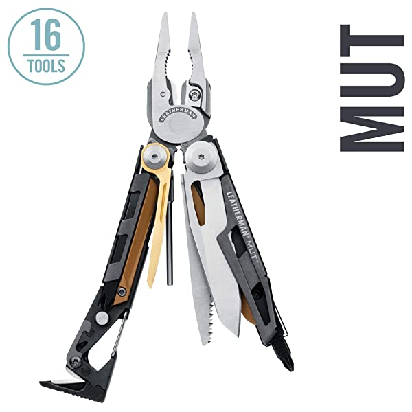 LEATHERMAN - MUT Multitool with Premium Replaceable Wire Cutters and Firearm Tools, Stainless Steel with MOLLE Black Sheath (FFP) (Color: Stainless Steel with MOLLE Black Sheath, Tamaño: Brown Sheath)