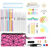 Upala Crochet Hook Set 100pcs Premium Quality Knitting Tool Accessories with Portable Leather Handbag - Best Gift