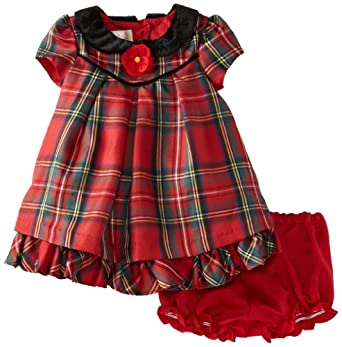 London baby girls infant holiday dress red plaid 18 months infant