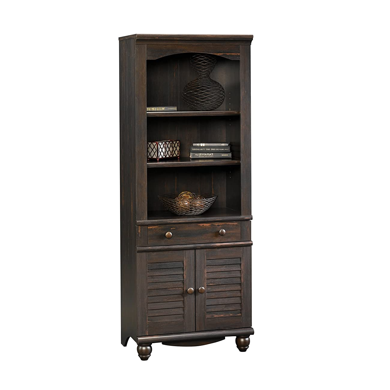 Sauder Harbor View Library with Doors Antiqued Paint 0