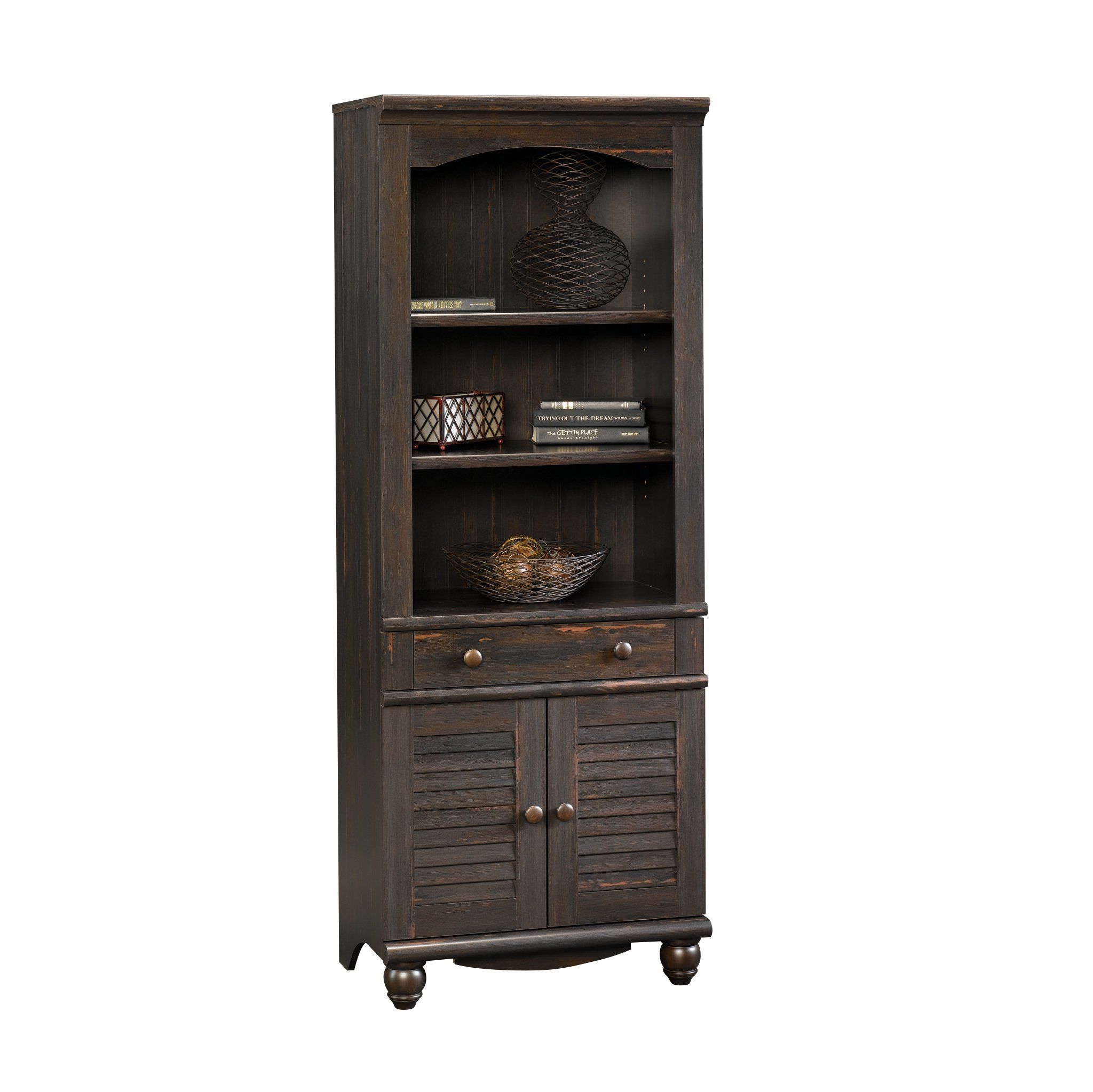Sauder Harbor View Library With Doors Antiqued Paint