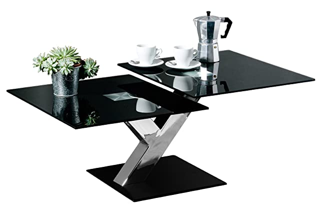 Premier Housewares 2401392 Tavolino, 2 Sezioni, con Piano in Vetro Nero e Gambe Cromate, 40x100x60 cm