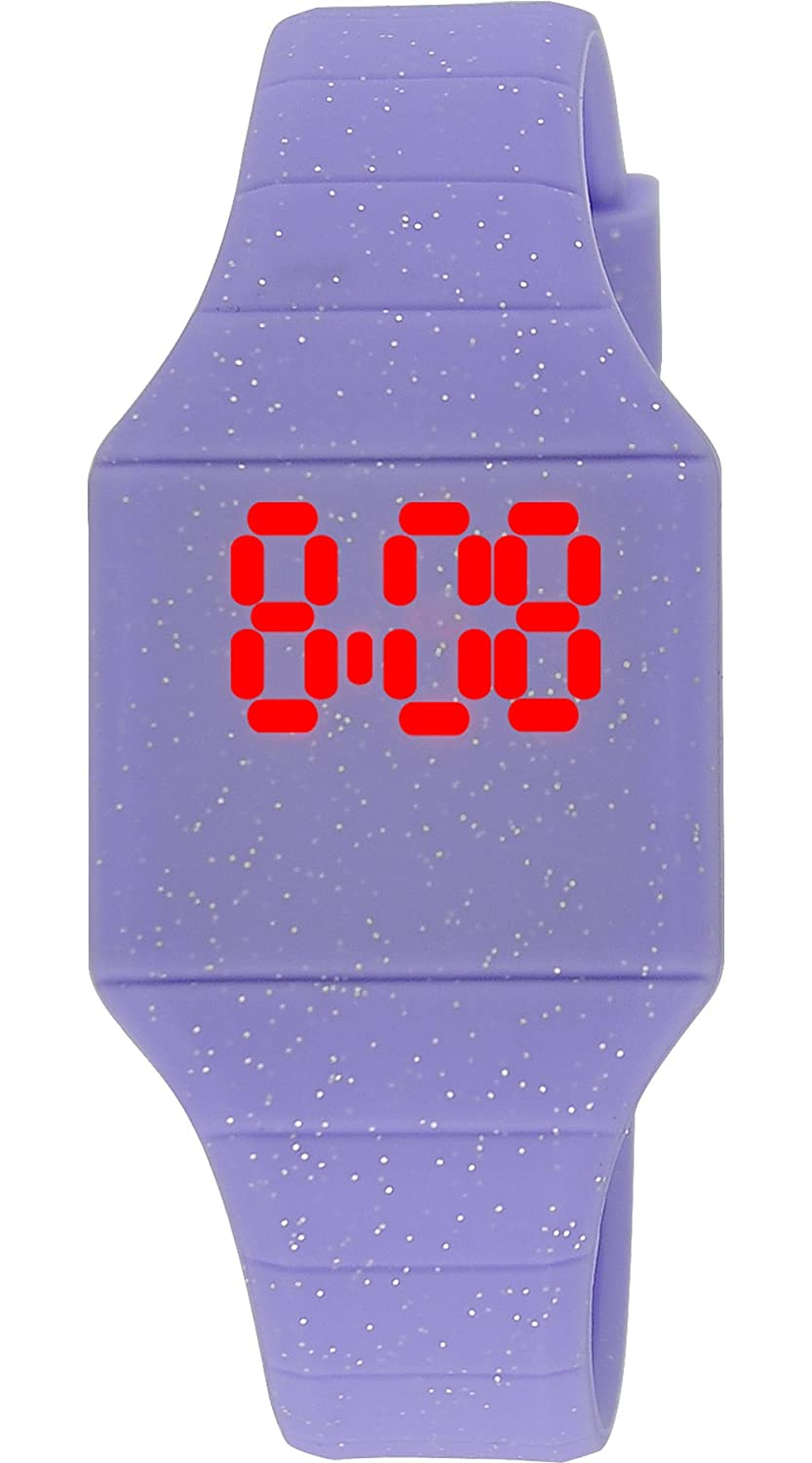 Moulin Girls LED Touch-Activated Lavender Glitter Silicone Watch with Stainless Steel Back #03088.75500