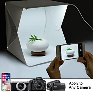 Upgraded Version Portable Photography Studio, Zenic Mini Portable and Folding Photo Light Box Studio Photo Photography Tent Kit with LED Light and Background (9.5 x 9 x 9.8 inches) (Color: 12 x 12 x 12 inches, Tamaño: 9.5 x 9 x 9.8 inches)