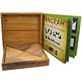 Tangram Wooden Puzzle Geometry Game, with 48 Silhouette Tangrams Challenge Booklet