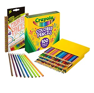 Crayola 100Count Colored Pencils with 16Count Color Fx Metallic & Neon, Amazon Exclusive, Great For Coloring Books, Gift (Color: Assorted, Tamaño: 100 count + Bonus)