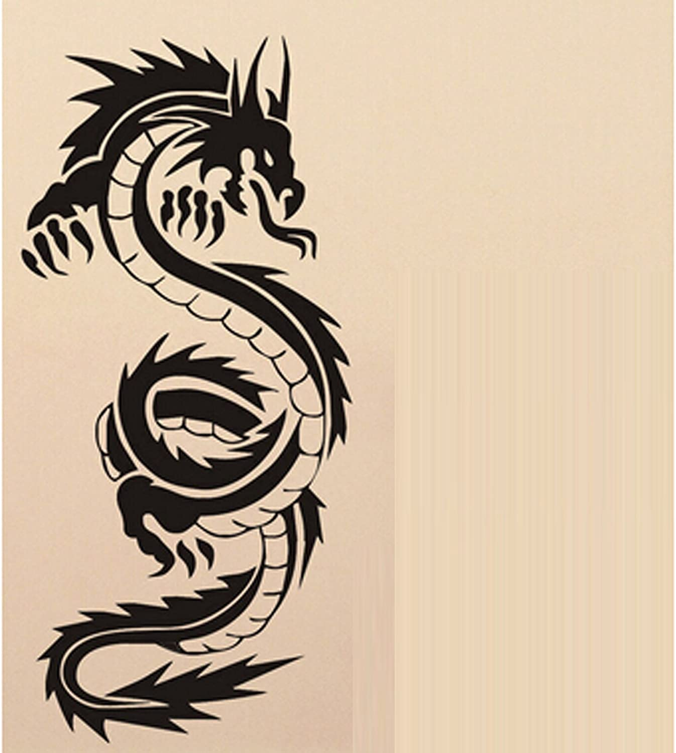 Large Animal Chinese Dragon Wall Decal Sticker The Living Room Background  Kidu0027s Stickers Vinyl Removable Black Color