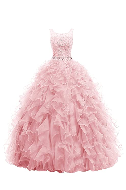 Dresstells® Long Prom Dress Ball Gown Beaded Wedding Party Quinceanera Dress Blush Size 4