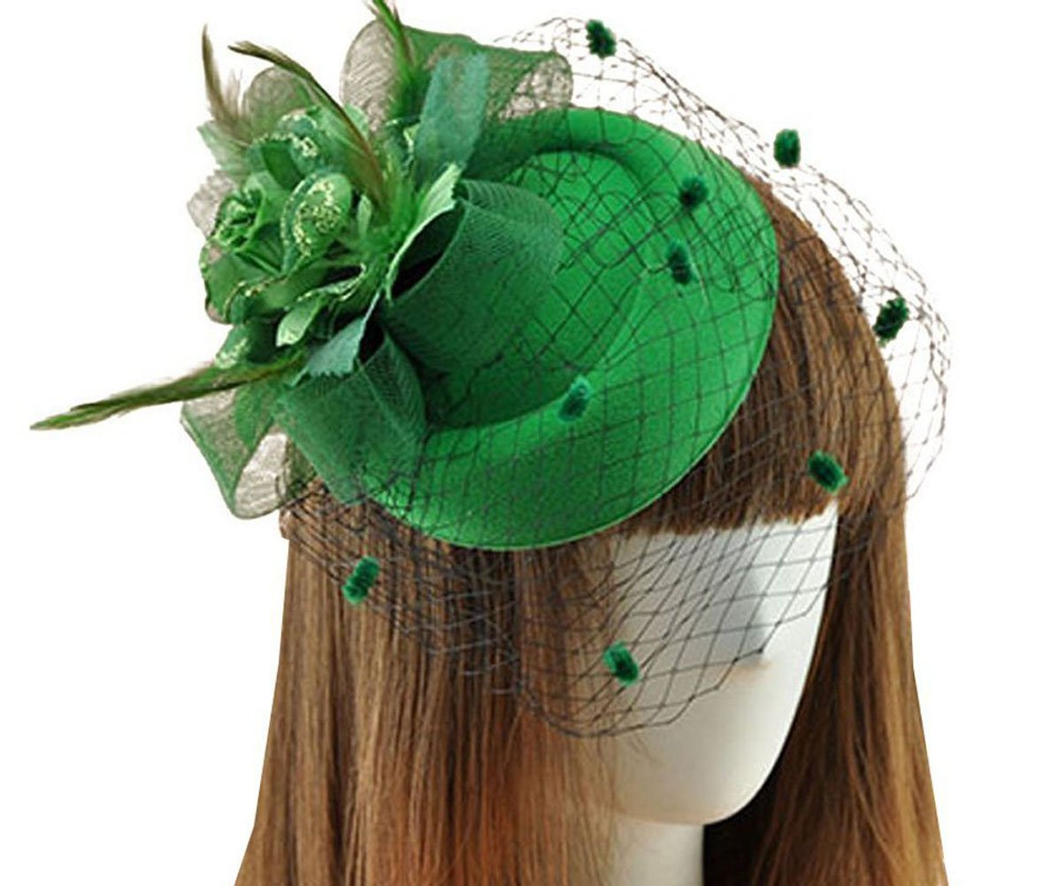 Fascinator Hair Clip Pillbox Hat Bowler Feather Flower Veil Wedding Party Hat 0