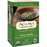 Numi Organic Tea Mate Lemon, 18 Bags, Organic Yerba Mate with Green Tea & Lemon Myrtle in Non-GMO Biodegradable Tea Bags, Premium Organic Tea, Drink Hot or Iced (Tamaño: 18 Count)