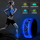 BSEEN LED Armband, 2ed Generation LED Slap Bracelets, Patented Heat Sealed Glow in The Dark Water/Sweat Resistant Glowing Sports Wristbands for Running, Cycling, Hiking, Jogging (Blue-Design II) (Color: Blue-Design II)