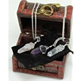 Three Wire Wrapped Crystal Point Pendant Necklaces, Amethyst, Rose Quartz, and Clear Quartz, all in a Velvet Pouch, packaged in Treasure Chest Pirate Box, Valentine's Day gift, Dancing Bear Brand.