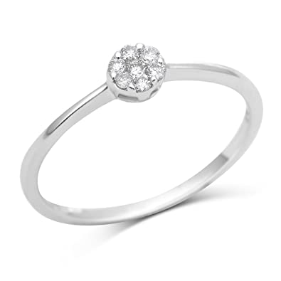 Miore 9ct White Gold Diamond Cluster Engagement  Ring SA932R