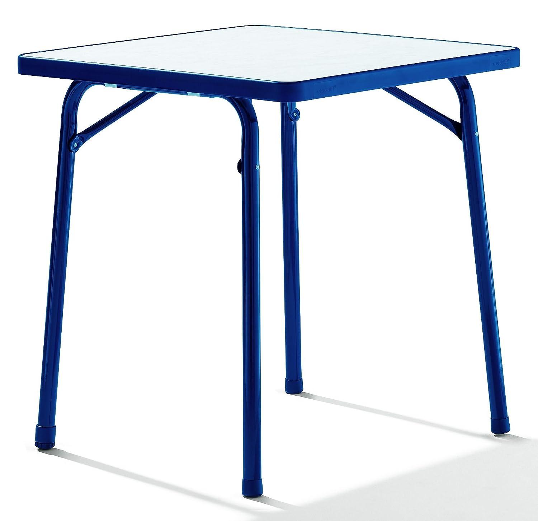 SIEGER 111/BL Garten-Klapptisch 70 x 70 cm mit Mecalit-Pro-Platte, Stahlrohrgestell blau, Tischplatte Marmordekor, weiß bestellen