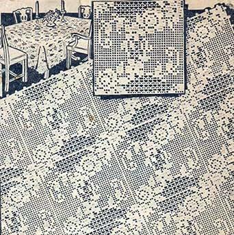 Filet Crochet Motif Square Flower Floral Pattern for Bedspreads Cloths
