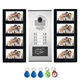 AMOCAM 8 Units Apartment Intercom System, Video Intercom Video Door Phone Kit, HD Camera 7