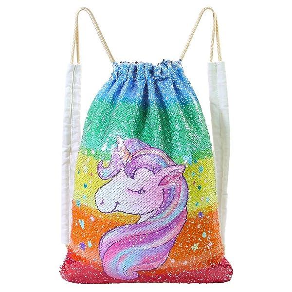3be0c9cf251f MHJY Unicorn Bag Sequin Drawstring Backpack Dancing Bag Swim Dance ...