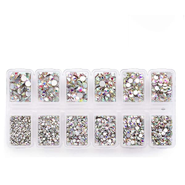 Zealer 1800pcs Crystals AB Nail Art Rhinestones Round Beads Top Grade Flatback Glass Charms Gems Stones for Nails Decoration Crafts Eye Makeup Clothes Shoes 300pcs Each (Mix SS3 6 10 12 16 20) (Tamaño: Mix SS3 6 10 12 16 20)
