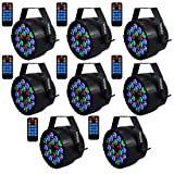 Stage Lights,SAHAUHY RGBW 18 Leds Uplights Par Lights Sound Activated Or DMX Control Dj Lights Up Lighting with Remote for Wedding Party(8Packs) (Color: black, Tamaño: Medium)