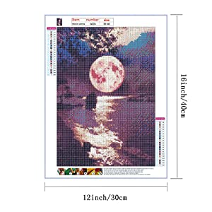 HaiMay 4 Pack DIY 5D Diamond Painting by Number Kits Full Drill Round Rhinestone Embroidery Pictures Arts Craft for Home Wall Decoration, Bright Moon (12 x 16 inch) (Color: Bright Moon)