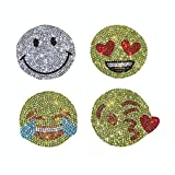 Various Patterns of Crystal Car Stickers,Decorate Cars Bumper Window Laptops Luggage Rhinestone Sticker,White (Emoji face) (Color: Emoji Face)