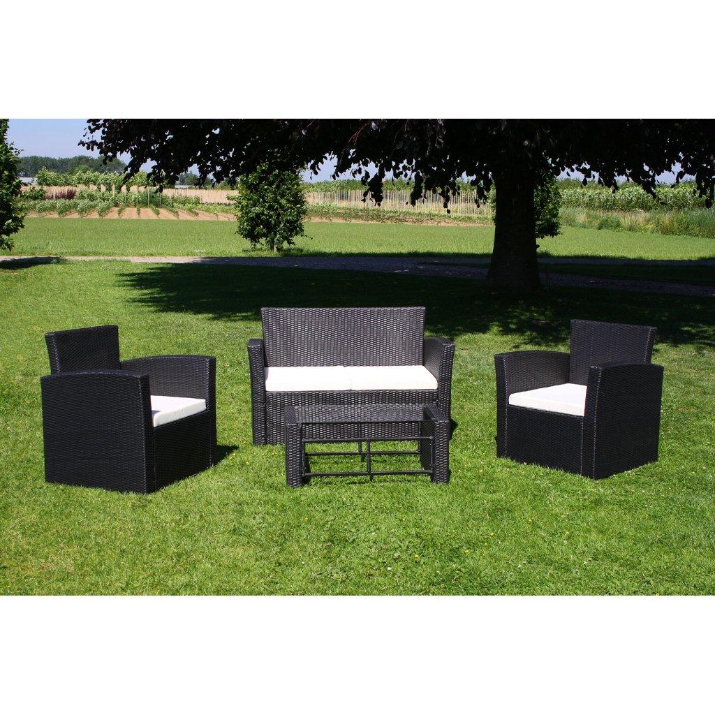 vidaXL Poly Rattan Gartenmöbel Lounge Set schwarz