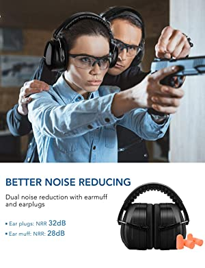 Mpow Noise Reduction Safety Ear Muff with Ear Plugs, Double Noise Reduction NRR 28dB Earmuff with NRR 32dB Earplugs, Professional Ear Protection for Shooting, Hunting, Mowing, Woodworking-Black (Color: Black)